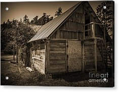 Storage Shed In Sepia Acrylic Print by Kirt Tisdale