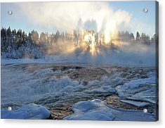 Storforsen, Biggest Waterfall In Sweden Acrylic Print