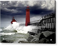 Storm At The Grand Haven Lighthouse Acrylic Print