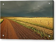 Storm Clouds Along A Saskatchewan Country Road Acrylic Print by Mark Duffy