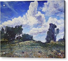Storm Clouds Over Monte Cardeto Lazio Italy 2009 Acrylic Print by Enver Larney