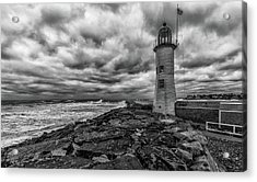 Storm Clouds Over Old Scituate Lighthouse In Black And White Acrylic Print