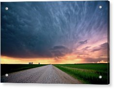Storm Clouds Over Saskatchewan Country Road Acrylic Print by Mark Duffy