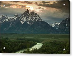 Storm Clouds Over The Tetons Acrylic Print by Andrew Soundarajan