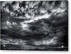 Acrylic Print featuring the photograph Storm Clouds Ventura Ca Pier by John A Rodriguez