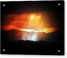 Storm Glow Night Over Santa Fe Mountains Acrylic Print