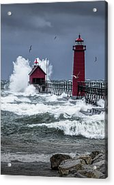 Storm On Lake Michigan By The Grand Haven Lighthouse With Flying Gulls Acrylic Print