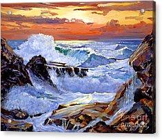 Storm On The Irish Coast Acrylic Print by David Lloyd Glover