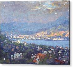 Storm Over Dilesi And Evia Island  Acrylic Print