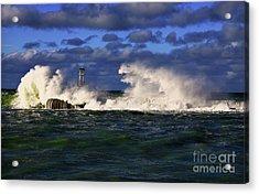 Storm Surf Batters Breakwater Acrylic Print