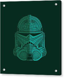 Stormtrooper Helmet - Star Wars Art - Blue Green Acrylic Print