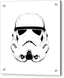 Acrylic Print featuring the digital art Stormtrooper Helmet Star Wars Tee Black Ink by Edward Fielding