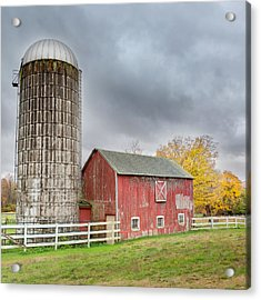 Stormy Autumn Skies Square Acrylic Print by Bill Wakeley