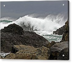 Stormy Day At Ballintoy Harbour Acrylic Print