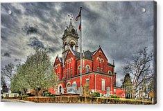 Stormy Day Jones County Georgia Court House Art Acrylic Print by Reid Callaway