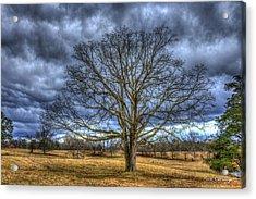Stormy Day Oak Winter Farm Scene Art Acrylic Print by Reid Callaway