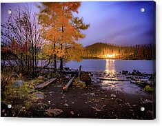 Acrylic Print featuring the photograph Stormy Night At Round Lake by Cat Connor