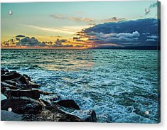 Stormy Ocean Sunset Acrylic Print by April Reppucci