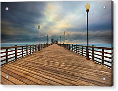 Stormy Oceanside Sunset Acrylic Print by Larry Marshall