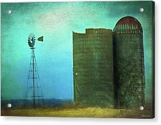 Stormy Old Silos And Windmill Acrylic Print