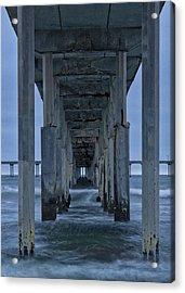 Stormy Pier In Ocean Beach Acrylic Print