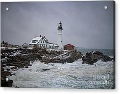 Stormy Portland Head Light Acrylic Print