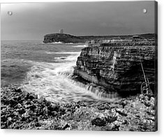 Acrylic Print featuring the photograph stormy sea - Slow waves in a rocky coast black and white photo by pedro cardona by Pedro Cardona