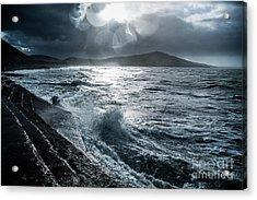 Stormy Seas At Tanybwlch Aberystwyth Acrylic Print