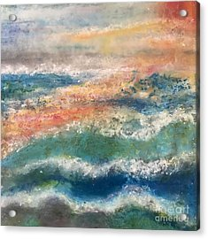 Acrylic Print featuring the painting Stormy Seas by Kim Nelson