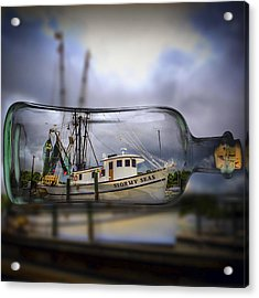 Acrylic Print featuring the photograph Stormy Seas - Ship In A Bottle by Bill Barber