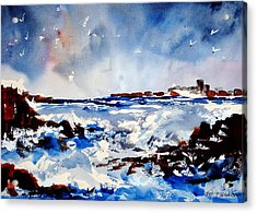 Stormy Skelligs Acrylic Print by Wilfred McOstrich