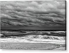 Acrylic Print featuring the photograph Stormy Skies Turbulent Ocean Outer Banks Bw by Dan Carmichael