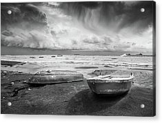 Acrylic Print featuring the photograph Stormy Sky Sea And Boats by Michalakis Ppalis