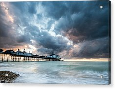 Stormy Sunrise Over Eastbourne Pier Acrylic Print