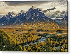 Stormy Sunrise Over The Grand Tetons And Snake River Acrylic Print