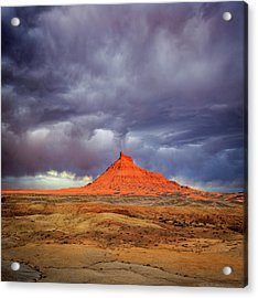 Stormy Sunset Above Factory Butte. Acrylic Print