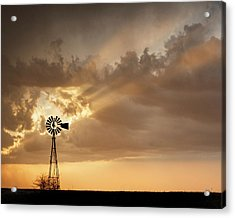 Acrylic Print featuring the photograph Stormy Sunset And Windmill 03 by Rob Graham