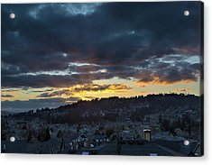 Stormy Sunset Over Happy Valley Oregon Acrylic Print by David Gn