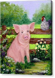 Acrylic Print featuring the painting Storybook Pig by Sandra Estes