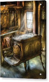 Stove - A Warm Cozy Stove Acrylic Print by Mike Savad