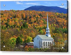 Stowe Community Church, Vermont Acrylic Print by Henk Meijer Photography