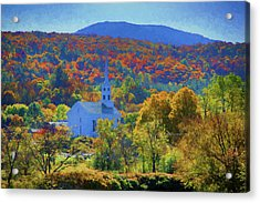 Acrylic Print featuring the photograph Stowe Vermont Church In Fall by Jeff Folger