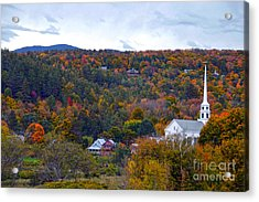 Stowe Vermont In Autumn Acrylic Print by Catherine Sherman