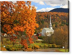 Stowe Vermont In Autumn Acrylic Print by John Burk