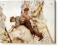 Acrylic Print featuring the painting Stowing The Headsails  by Henry Scott Tuke
