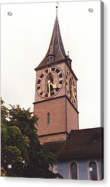 St.peter Church Clock In Zurich Switzerland Acrylic Print by Susanne Van Hulst