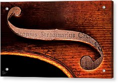Stradivarius Label Acrylic Print by Endre Balogh