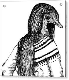 Strange Ostrich Lady Acrylic Print