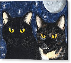 Acrylic Print featuring the painting Strangeling's Felines - Black Cat Tortie Cat by Carrie Hawks
