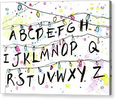 Stranger Things Alphabet Christmas Lights Acrylic Print by Olga Shvartsur